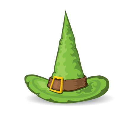 tall hat: illustration of green tall witch hat isolated on white . vector witch hat.