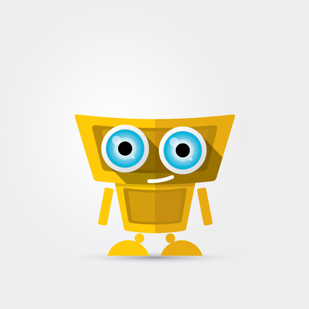 orange Cartoon Character Cute Robot on Grey background