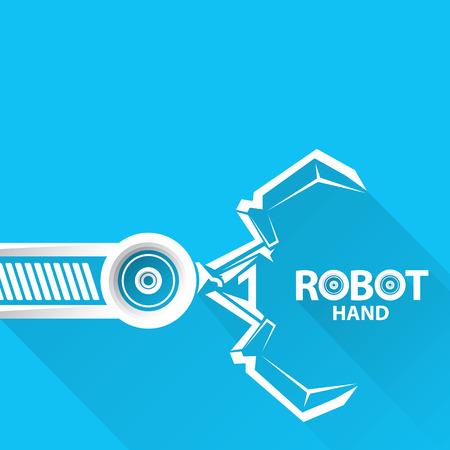 Tecnología limpia del diseño del fondo. vector símbolo brazo robótico. robot de la mano.