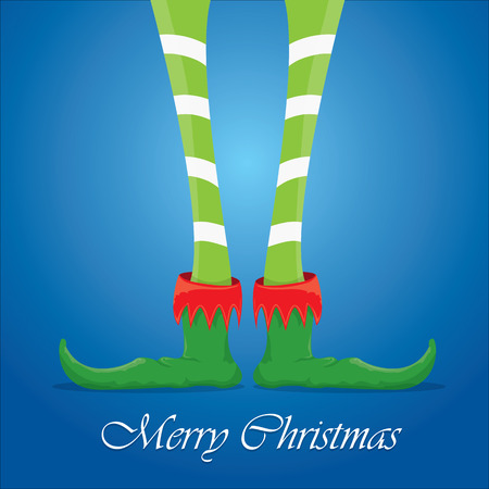 elfs: vector creative merry christmas greeting card, christmas cartoon elfs legs