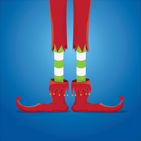 elfs: vector creative merry christmas greeting card, christmas cartoon elfs legs