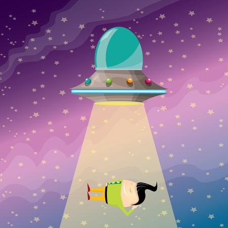sleeping businessman: vector sleeping businessman abducted by UFO. vector funny cartoon ufo stealing man.