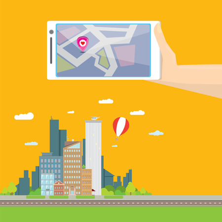 panorama view: City internet navigation concept web banner. Panoramic flat city and navigation app on mobile screen. GPS navigation on mobile phone with pin and map. Panorama city view flat style Illustration