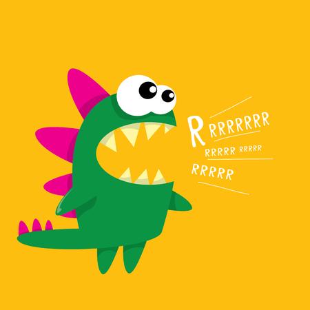 Vector cartoon green funny dragon. Cartoon cute monster Dinosaur. Illustration