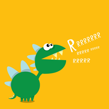Vector cartoon green funny dragon. Cartoon cute monster Dinosaur. Illustration