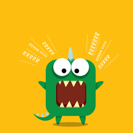 the centaur: Vector cartoon green funny dragon. Cartoon cute monster Dinosaur. Illustration