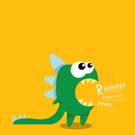 Vector cartoon green funny dragon. Cartoon cute monster Dinosaur. Vektoros illusztráció