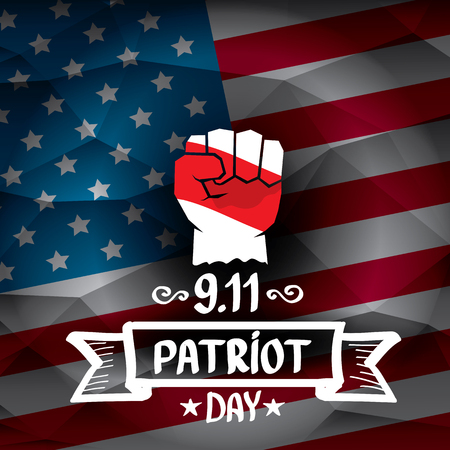 workers rights: Patriot Day USA background . American Flag with clenched fist background.