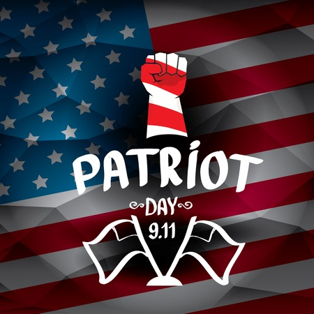 clenched fist: Patriot Day USA background . American Flag with clenched fist background.