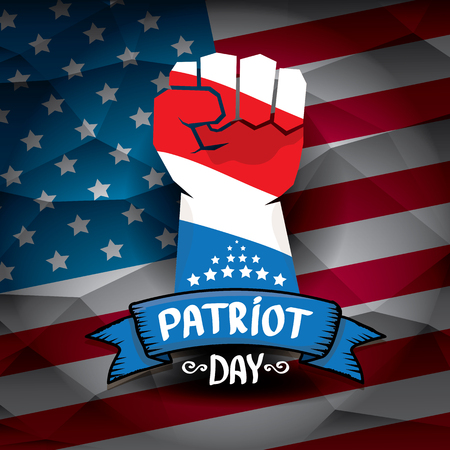 patriots: Patriot Day USA background . American Flag with clenched fist background.