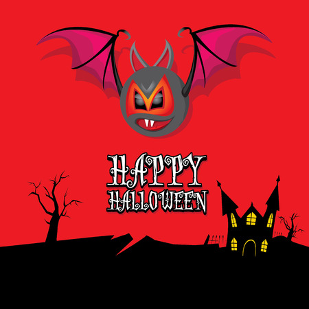 vector happy halloween card. halloween design template background with bat