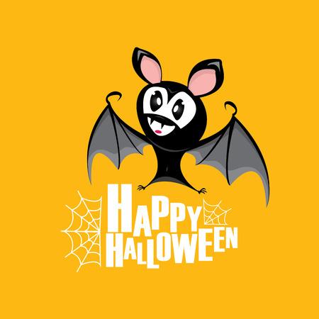 Happy halloween vector kids funny background with cartoon funky bat Illustration