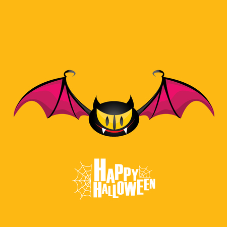 Happy halloween vector kids funny background with cartoon funky bat Illustration