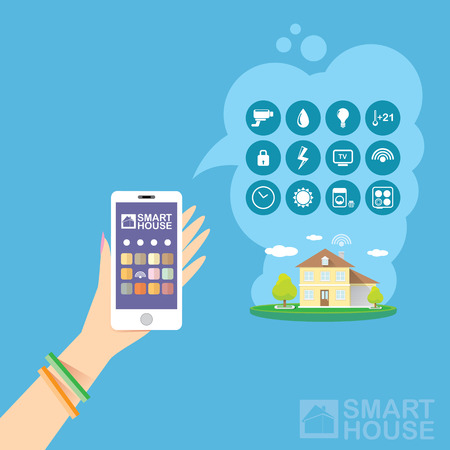 temperature controller: Smart house control vector concept illustration. Flat design style vector illustration concept of smart home control with mobile phone application.