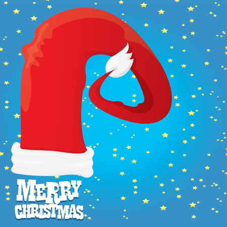 red Santa hat vector. merry christmas card or xmas background . vector illustration