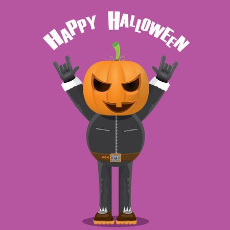 Happy halloween vector creative background. man in halloween costume with pumpkin head rock n roll style halloween greeting card with text. Happy halloween rock concert poster design template.