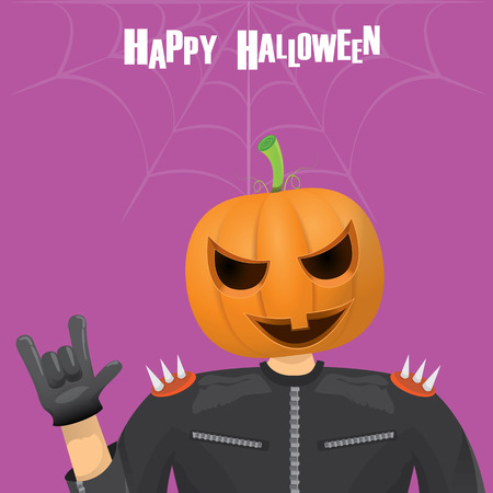 halloween costume: Happy halloween vector creative background. man in halloween costume with pumpkin head rock n roll style halloween greeting card with text. Happy halloween rock concert poster design template.