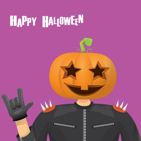 rockstar: Happy halloween vector creative background. man in halloween costume with pumpkin head rock n roll style halloween greeting card with text. Happy halloween rock concert poster design template.