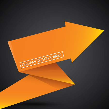 orange background abstract: Abstract glossy orange origami speech bubble. Vector abstract orange background. vector orange sale banner Illustration