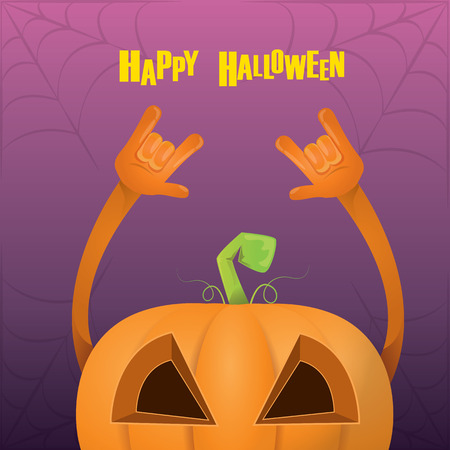 rockstar: Happy halloween vector creative background. pumpkin rock n roll style halloween greeting card with text. Happy halloween rock concert poster design template or greeting card Illustration