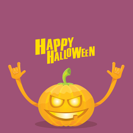 Happy halloween vector creative background. pumpkin rock n roll style halloween greeting card with text. Happy halloween rock concert poster design template or greeting card Illustration