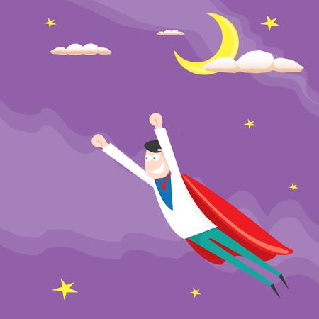 business man flying. vector illustration. Businessman is superhero
