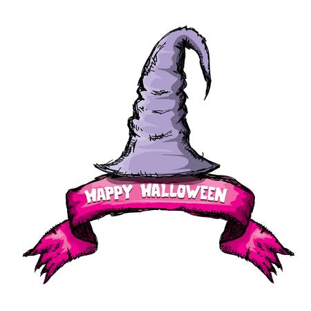 sombrero de mago: sombrero de bruja aislado en blanco. Vector de halloween arte del doodle sombrero de mago violeta Vectores