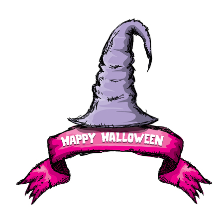 sombrero de mago: witch hat isolated on white. vector halloween doodle art violet wizard hat
