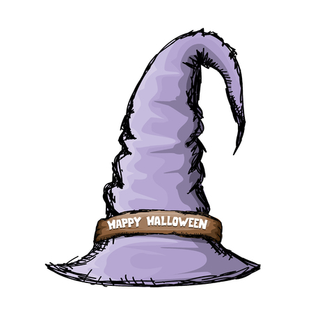 wizard hat: witch hat isolated on white. vector halloween doodle art violet wizard hat