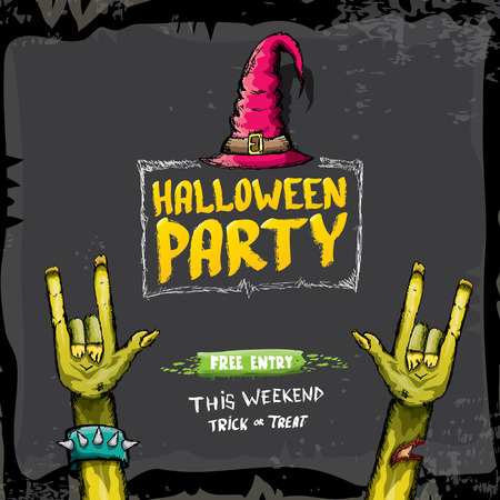 rockstar: Halloween vector illustration with rock n roll zombie hand and halloween objects. vector halloween party creative concept invitation or poster. halloween cartoon banner.