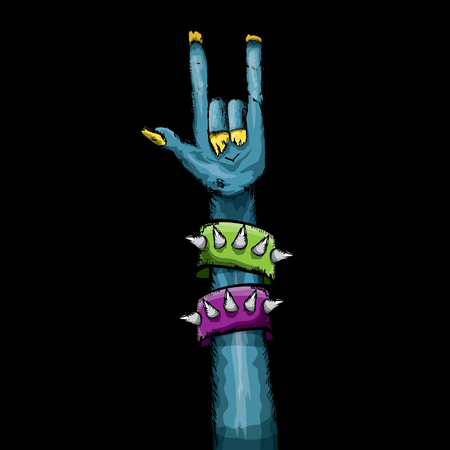 rock n: Zombie hand shows rock n roll gesture, hand drawn vector illustration. Zombie party halloween background