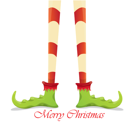 elf's: vector creative merry christmas greeting card, christmas cartoon elfs legs on white snow background