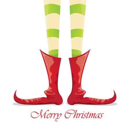 elfs: vector creative merry christmas greeting card, christmas cartoon elfs legs on white snow background