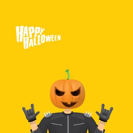rock n: Happy halloween vector creative background. man in halloween costume with pumpkin head rock n roll style halloween greeting card with text. Happy halloween rock concert poster design template.