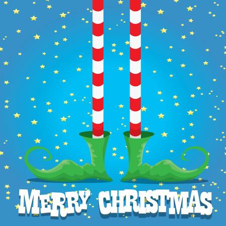 elfs: vector creative merry christmas greeting card, christmas cartoon elfs legs on blue background