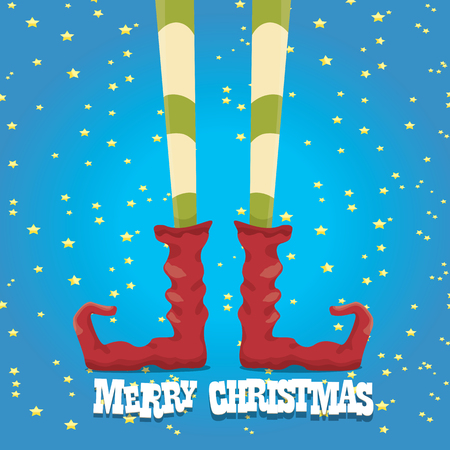 elfs: vector creative merry christmas greeting card, christmas cartoon elfs legs on blue background
