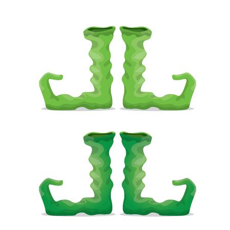 cartoon christmas elf shoes. leprechaun boots. vector illustration Illustration