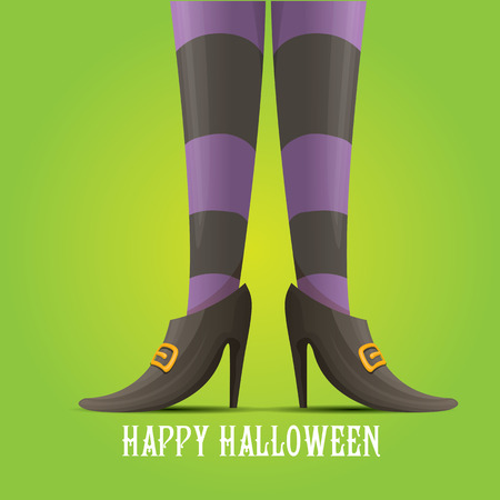 stripped: vector girls legs with stripped stockings. witch legs halloween background Illustration
