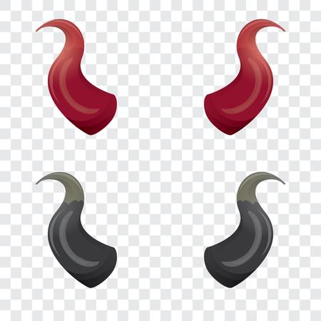 infernal: vector Red and black devil, demon, satan horns isolated on white. Halloween evil horns