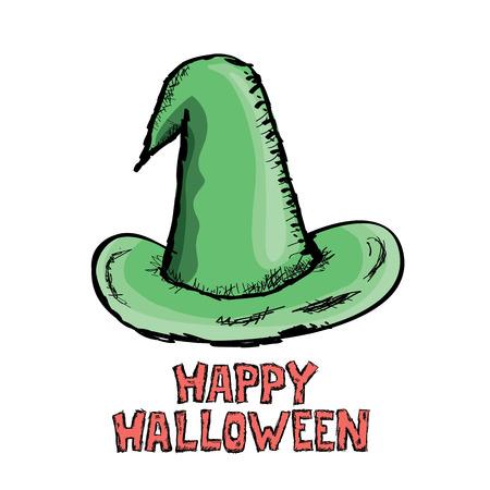 sombrero de mago: sombrero de bruja aislado en blanco. Vector de halloween arte del doodle sombrero de mago verde