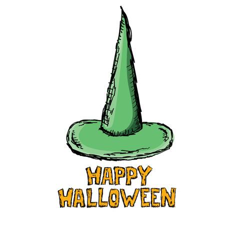 sombrero de mago: witch hat isolated on white. vector halloween doodle art green wizard hat