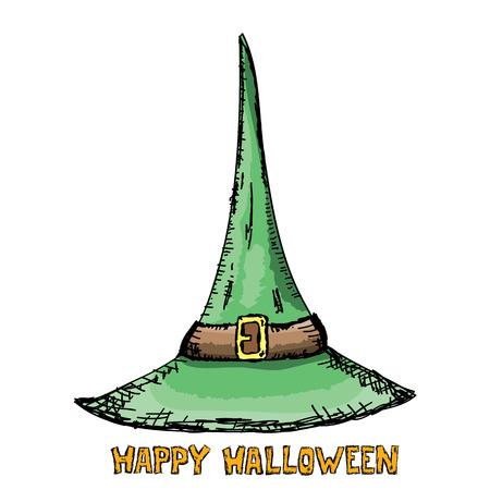 wizard hat: witch hat isolated on white. vector halloween doodle art green wizard hat