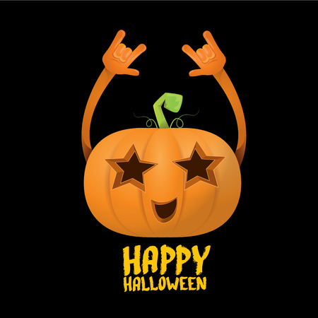 Happy halloween vector creative background. pumpkin rock n roll style halloween greeting card with text. Happy halloween rock concert poster design template or greeting card Illusztráció