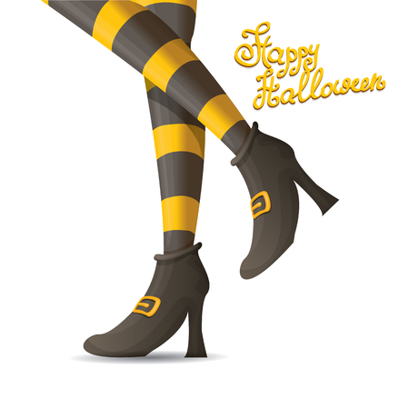 stockings: vector girls legs with stripped stockings. witch legs halloween background Illustration