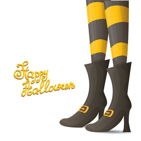 leggings: vector girls legs with stripped stockings. witch legs halloween background Illustration