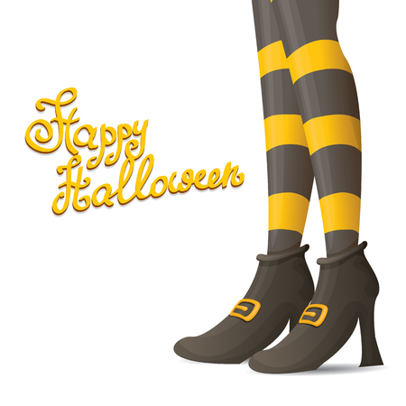 vector girls legs with stripped stockings. witch legs halloween background Illustration