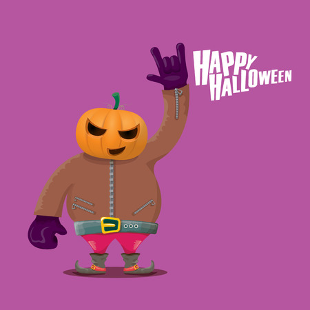 Happy halloween vector creative background. man in halloween costume with pumpkin head rock n roll style halloween greeting card with text. Happy halloween rock concert poster design template.