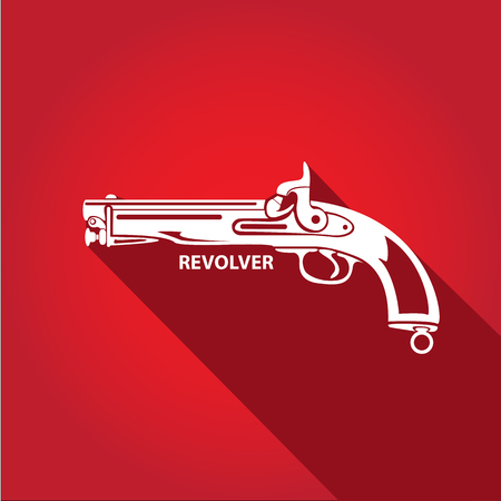 vintage riffle: vector vintage pistol gun on red background