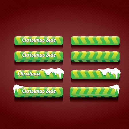 web buttons: Green Christmas web buttons set. winter web buttons collection Illustration