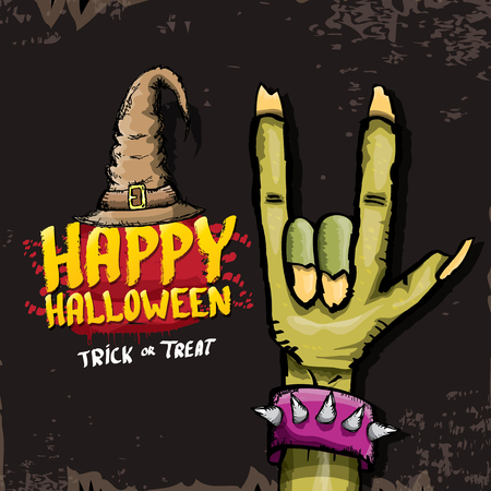 rock n: Happy halloween vector greeting card with zombie hand. vector halloween background